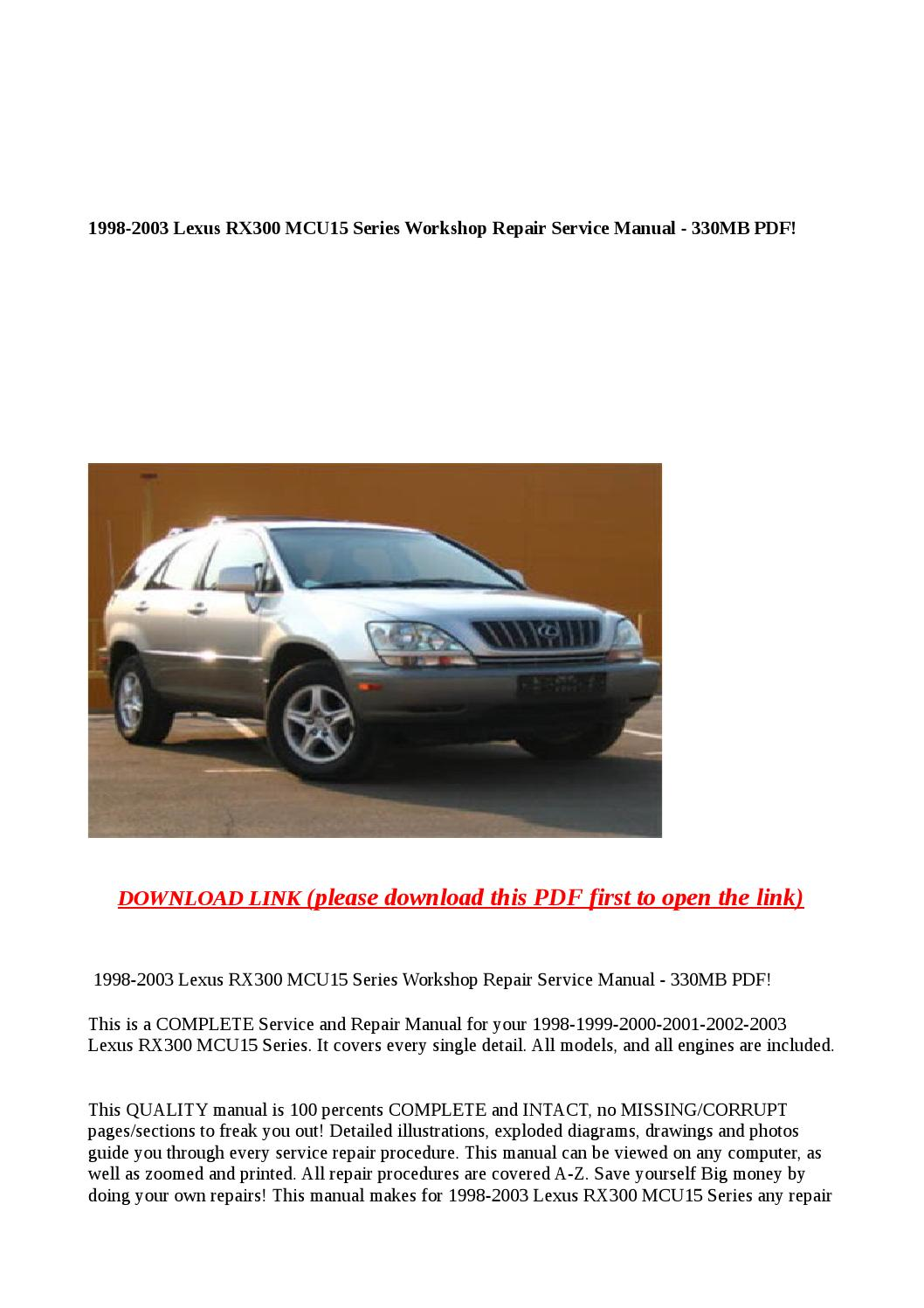 2001 lexus rx300 owners manual pdf