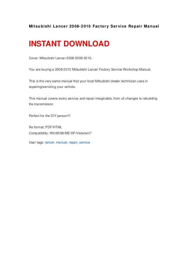 2010 mitsubishi lancer repair manual