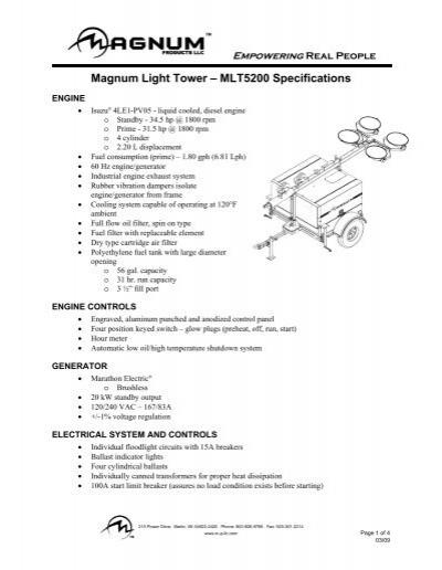magnum light tower mlt3060 parts manual