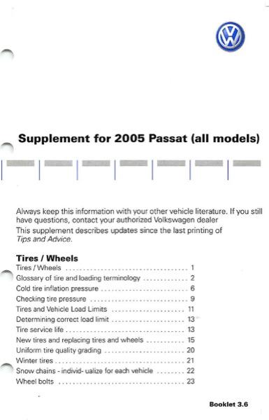 1999 vw passat owners manual