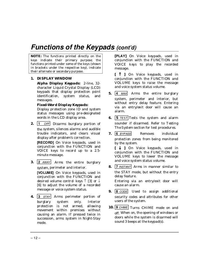 honeywell vista 20p user manual